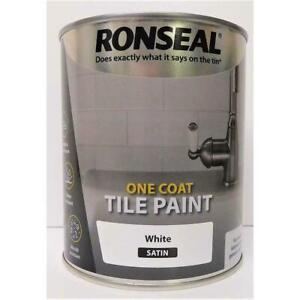 Ronseal Water Based One Coat Tile Paint 750ml Bathroom Kitchen - Satin White
