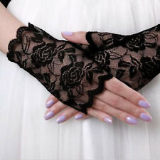 Sexy Lady Women Lace Golves Elegant Floral Fingerless Gloves Mittens Party Black