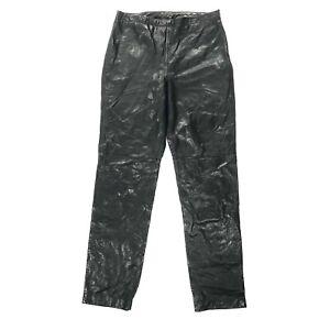 Ann Taylor Women's 100% Leather Lined Black Straight Leg Side Zip Pants Size 6