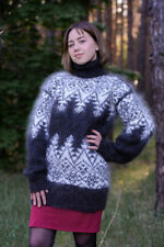 44428ba0833 New handmade Mohair Cashmere Sweater Turtleneck craft natural goat down  Size S-M