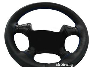 FOR TOYOTA MR2 MK2 REAL BLACK LEATHER STEERING WHEEL COVER BLUE STITCH 1990-1998