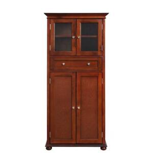 4-Door Tall Storage Cabinet Wood Chest Organizer Shelves Bathroom Towels Brown
