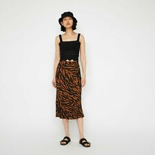 Warehouse SKIRT MIDI TIGER STRIPE ORANGE TAN BLACK  Sz 10 NEW