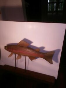 Vintage Driftwood carving of Rainbow Trout