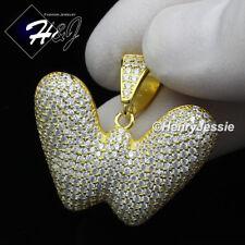 "Gold Bubble Initial Letter ""W"" Pendant*G203 Men 925 Sterling Silver Lab Diamond"