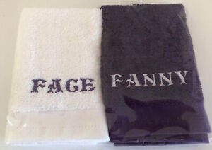 Face and Fanny Embroidered Face Cloth Set, White/Purple, novelty gift idea