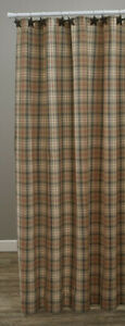 Gentry Grey Deep Red Tan Plaid Country Farmhouse Cotton Shower Curtain