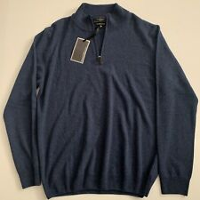 Mantovani Studio Italy Men's 100% Italian Cashmere 1/4 Zip Sweater- Blue Sz XL