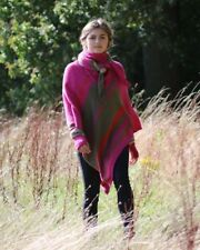 CASHMERE MIX STRIPED PONCHO CAPE WRAP ONE SIZE MADE IN ITALY JUMPER  - PINK
