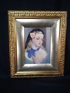 MARIE LAURENCIN REPRODUCTION OF BEAUTIFUL LADY! PRINT ON CANVAS!  ORNATE FRAME!!