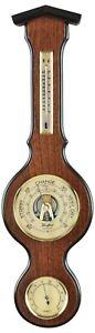Wooden Mahogany Veneer Barometer with Temperature and Humidity, 50cm Tall 1614