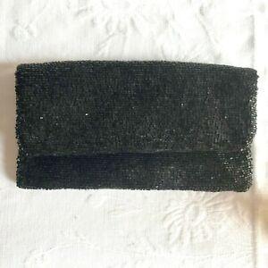 Club Monaco Black Beaded Fold Over Zip Close Clutch Evening Bag