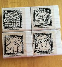 4 NEW Stamps 1999 Retired Stampin Up Wood Rubber Mounted Modern Seasonal