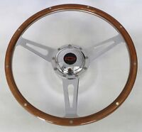 "Chevy Pick Up Blazer 9 Hole Retro Wood Steering Wheel 15"" Red/Black center cap"