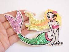 large sequin patches mermaid patch applique iron on sew motif hot fix badge
