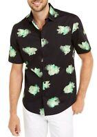 Alfani Mens Shirt Green Black Size XL Abstract Floral Button Down $55 041
