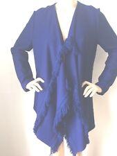 NWT St John Knit Size M Cardigan sweater wrap fringe Blue Prussian wool rayon