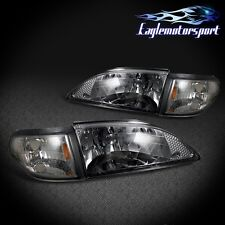 1994-1998 Ford Mustang Smoke Tint Factory Style Headlights+Corner Lamps Set