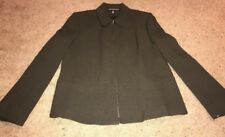 Zip Jacket Blazer Woman's Size 14 Moss Green Company Ellen Tracey NWT