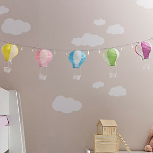 Set of 5 Pastel Hot Air Balloon Paper Lanterns Decorations for LED Fairy Lights