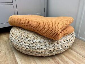 Vintage Retro Burnt Orange Knitted Cellular Blanket Throw King Double Campervan
