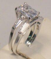 5.50 Ct Emerald cut Diamond Solitaire Engagement Ring Wedding Set White gold ov