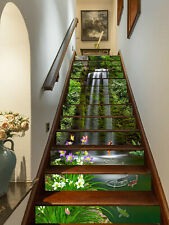 13PCS 3D Waterfall Fishes Self-adhesive Waterproof Stairs Stickers Wall Murals