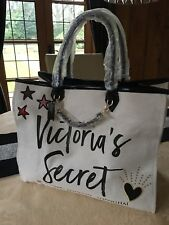 DESIGNER VICTORIA'S SECRET LARGE CREAM ANGEL CITY TOTE CANVAS SHOPPER BEACH BAG