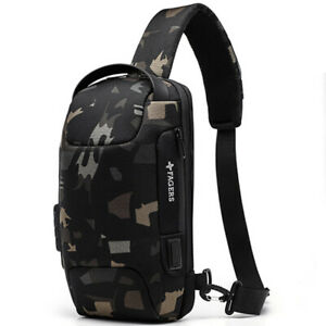 Mens Camouflage Sling Backpack Oxford cloth Waterproof Anti-theft Crossbody Bag