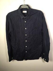 Saba mens navy blue button up shirt size S long sleeve cotton good condition