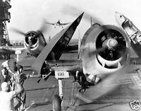 B&W WWII Photo F-6F Fighters USS Enterprise WW 2 1944 World War Two US Navy USN