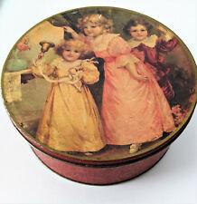 Ancienne Boîte Tôle Fer Lithographiée Grosse Boîte Ronde Rouge