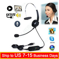 USB Headset Surround Stereo Headband Headphone + Microphone 2M Length For PC