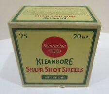 Vintage Remington Kleanbore Shur Shot Shells 20ga Empty Ammo Box Near Mint