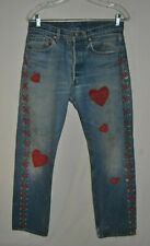 Custom Design Distressed  Women's Levi Jeans Leather Lace Down Legs and Hearts