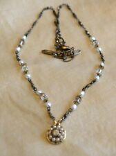 Michal Golan 24K gold + Pearls Beaded Flower necklace Handmade