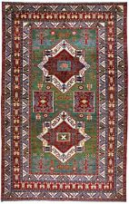 Rug / carpet hand knotted wool green and red Chanabad (221 X 351 cm)