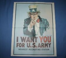1975 Uncle Sam Poster I Want You for U.S. Army Nearest Recruiting Station 28x22