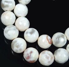 """8mm White Cream Fire Agate Faceted Round Beads 15.5"""""""