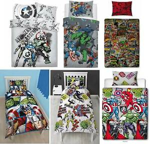 Marvel Avengers Comics Single Reversible Duvet Cover Bedding Set Official