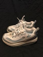 Skechers Shape-Ups While you Walk Shoes 7.5 Fitness Exercise White Silver Blue