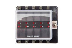 10 Way LED Standard Blade Fuse Box Holder 12V / 24V Light Car Marine Campervan