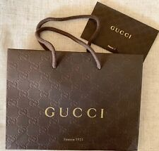 """Gucci Brown Embossed Gift Shopping Bag 6.5"""" x 9"""" x 2.25"""" w/Receipt Envelope New"""