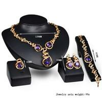 Purple gem fashion jewelry necklace earrings ring bracelet four-piece set gift