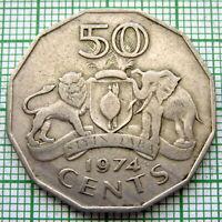 SWAZILAND 1974 50 CENTS, KING SOBHUZA II