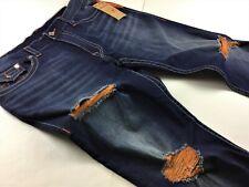 True Religion Men Orange Stitch Distressed Ripped Straight Leg Jeans 42x34