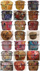 "22"" Boho Vintage Pouff Round Ottoman Embroidered Patchwork Ethnic Pouf Cover Art"