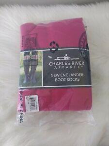 Women's Fleece Boot Socks Charles River Apparel Sz Large Hot Pink