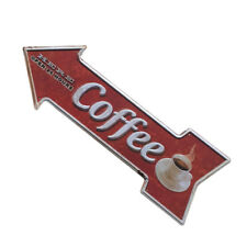Retro Coffee Cafe Arrow Cast Iron Painting Sign Advertising Signboard
