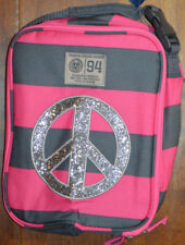 Girl's Old Navy Pink & Gray Stripe Shimmer Peace Sign Insulated Lunch Bag Tote